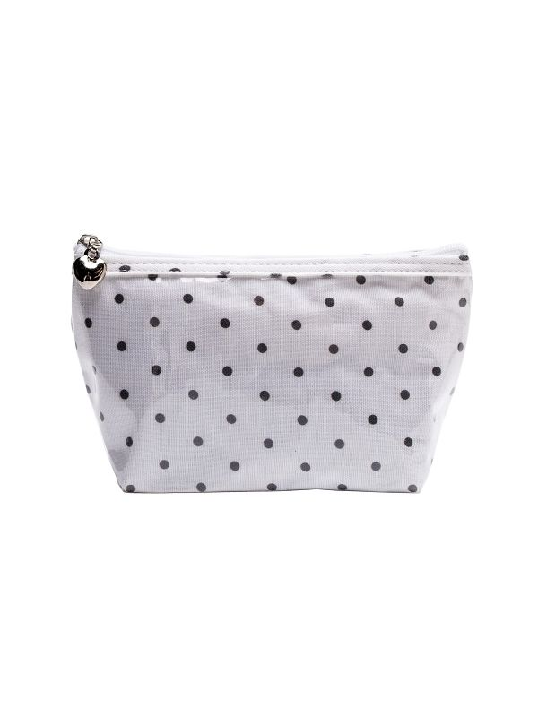 DN300-PD Cosmetic Bag, Cotton/Waterproof PVC (Small) - Polka Dot