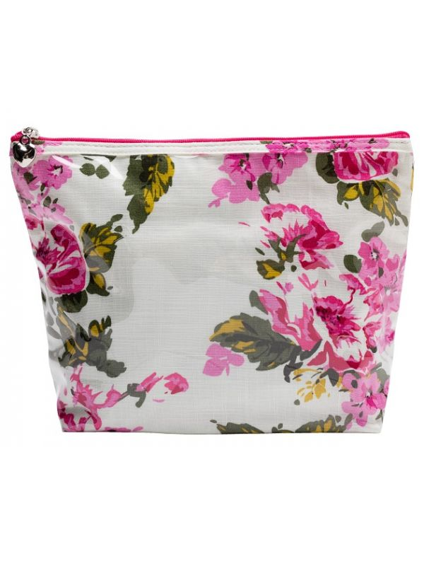 Cosmetic Bag (Medium), Cotton/Waterproof PVC - Magenta Blossom - DN301-MB