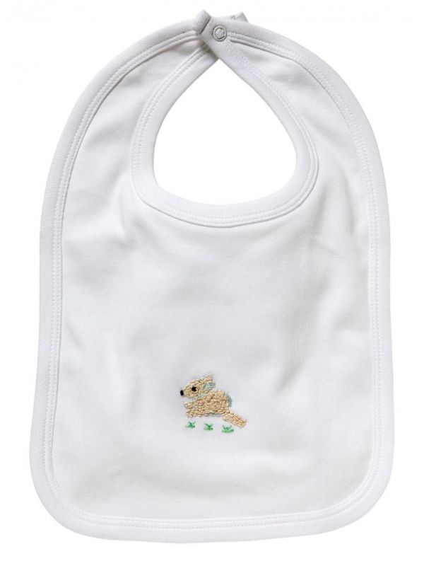 LG90-BUCRB Baby Bib** - White Combed Cotton, Hand Embroidered - Bunny (Cream/Blue)