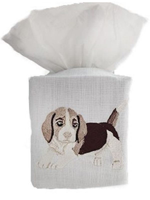DG17-BGLBE Tissue Box Cover, Linen Cotton - Beagle (Beige)
