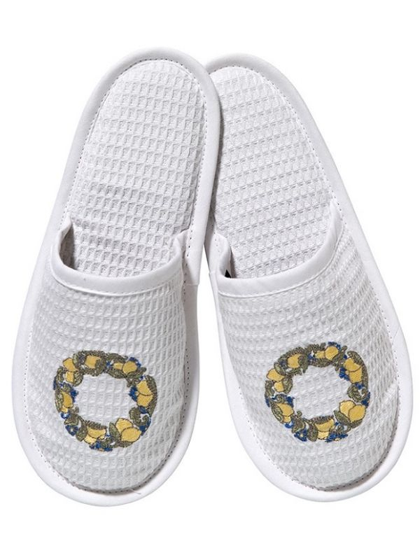 Slippers, White Cotton Waffle Weave - Embroidered
