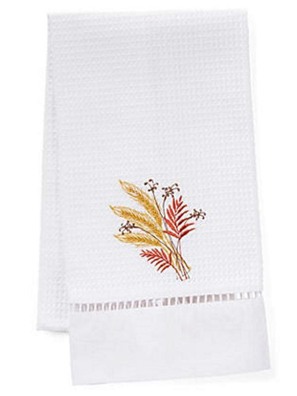 DG02-WSRG Guest Towel, Waffle Weave - Wheat Sheaf (Red, Gold)