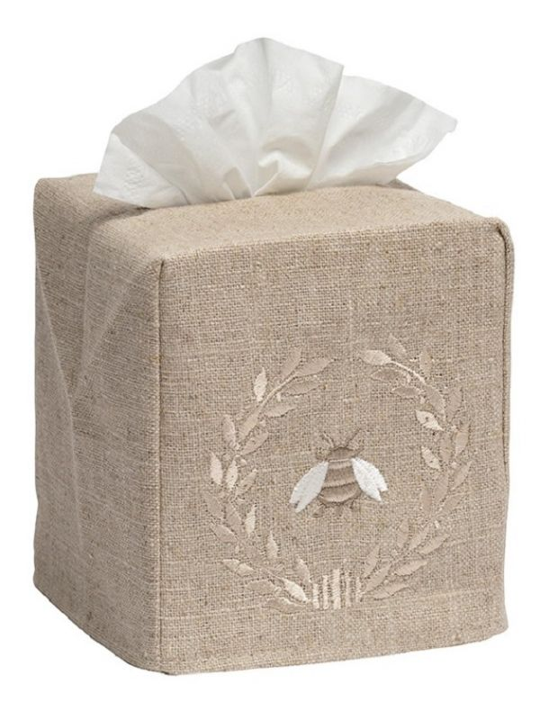 Tissue Box Cover - Natural Linen, Embroidered
