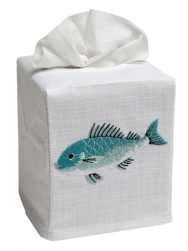 DG17-SFSAQ Tissue Box Cover, Linen Cotton - Swimming Fish (Aqua)