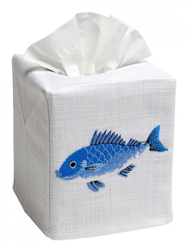 DG17-SFSBL Tissue Box Cover, Linen Cotton - Swimming Fish (Blue)