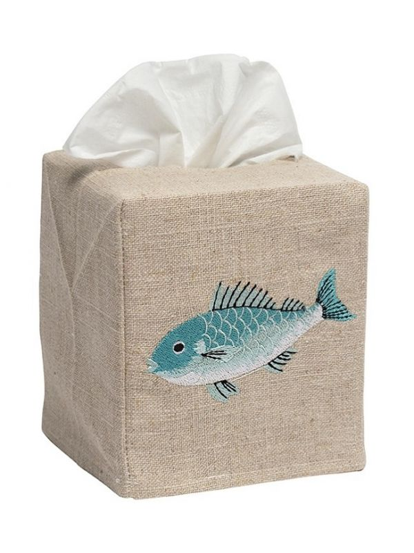 DG23-SFSAQ Tissue Box Cover, Natural Linen - Swimming Fish (Aqua)