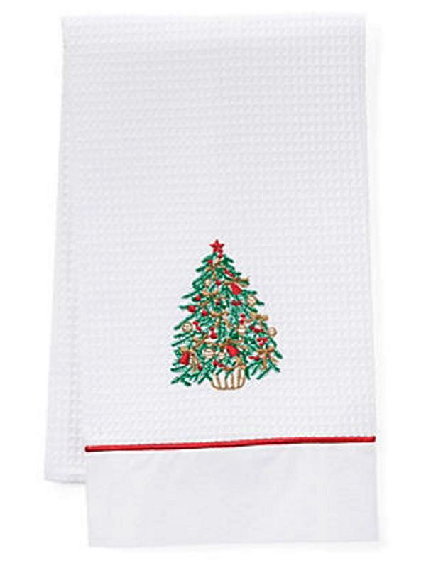 DG08-CTGR Guest Towels, Waffle Weave and Satin Trim - Christmas Tree (Green, Red)