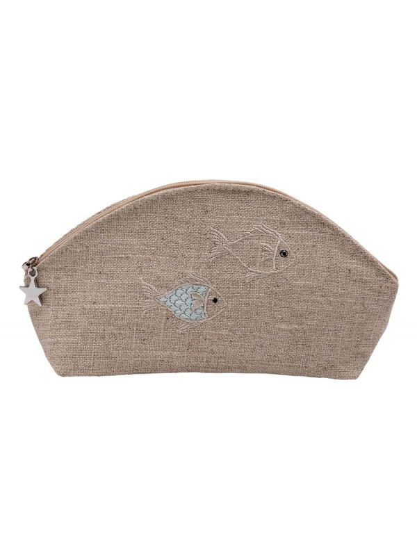 DG38-SOFAQ Cosmetic Bag, Natural Linen (Small) - School of Fish (Aqua)