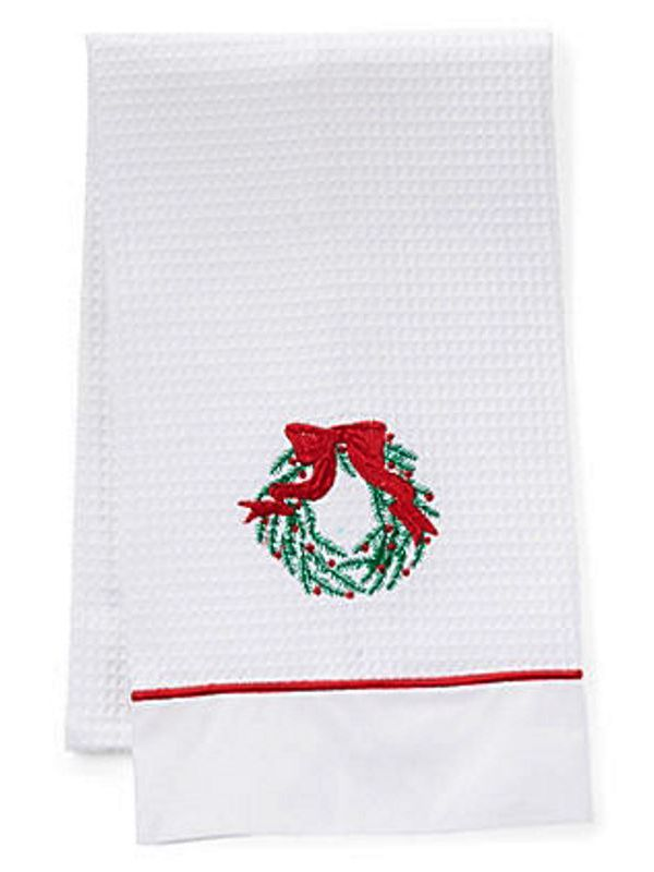 DG08-CWGR Guest Towels, Waffle Weave and Satin Trim - Christmas Wreath (Green, Red)
