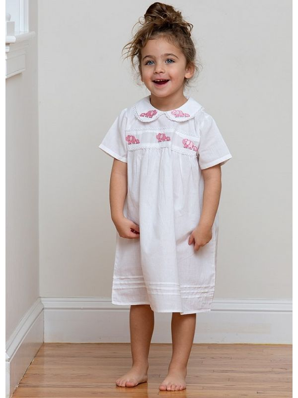 Elinor Elephant White Cotton Dress, Embroidered** - EL308