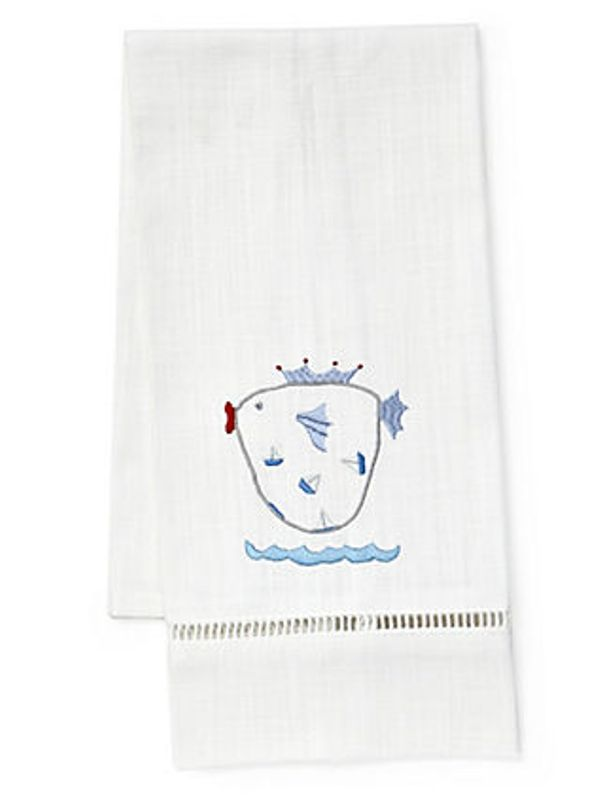 DG21-KFBL Guest Towel, White Linen & Satin Stitch - Kingfish (Blue)