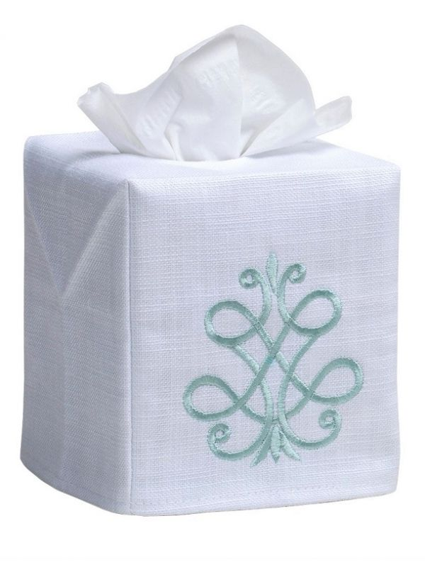 DG17-FSAQ Tissue Box Cover - French Scroll (Aqua)