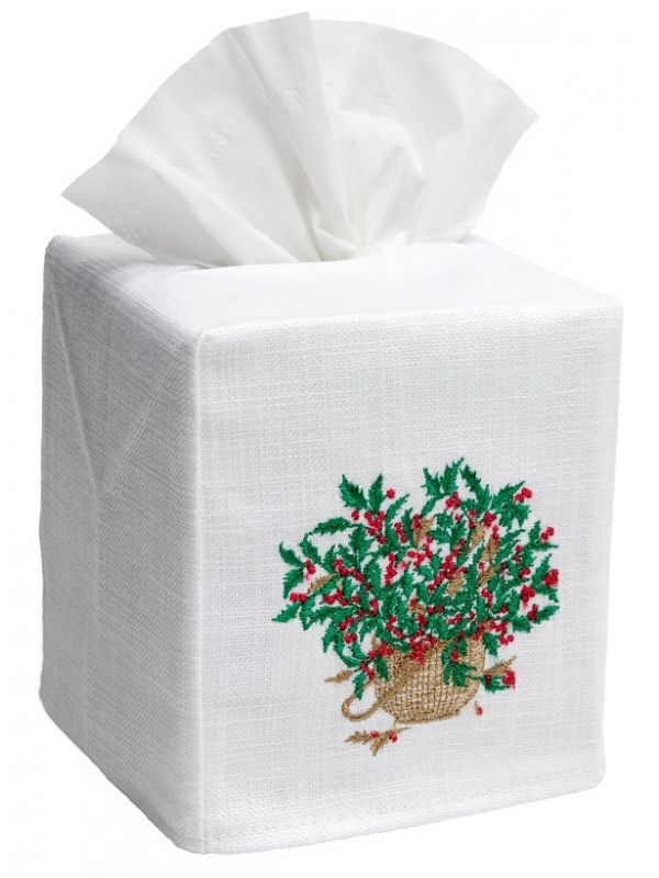 DG17-HBGR** Tissue Box Cover, Linen-Cotton - Holly Basket (Green)