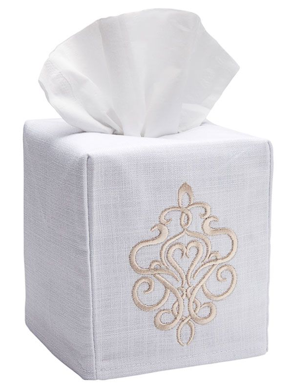 DG17-TSBE Tissue Box Cover, Linen Cotton - Tuscan Scroll (Beige)
