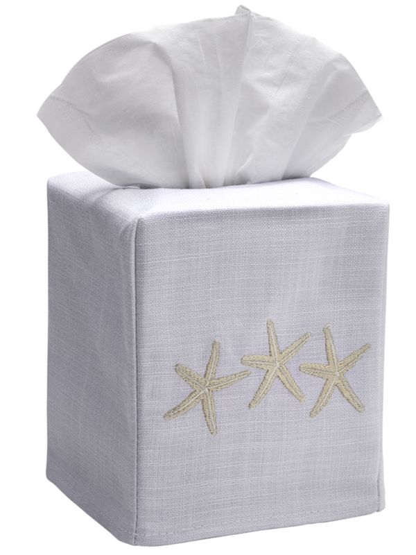 DG17-TSFBE** Tissue Box Cover, Linen Cotton - Three Starfish (Beige)