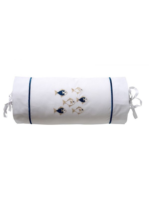 "DG135-SOFNBE Bolster, Satin Stitch 6"" x 14"" (Incl Insert) - School of Fish (Navy/Beige)"