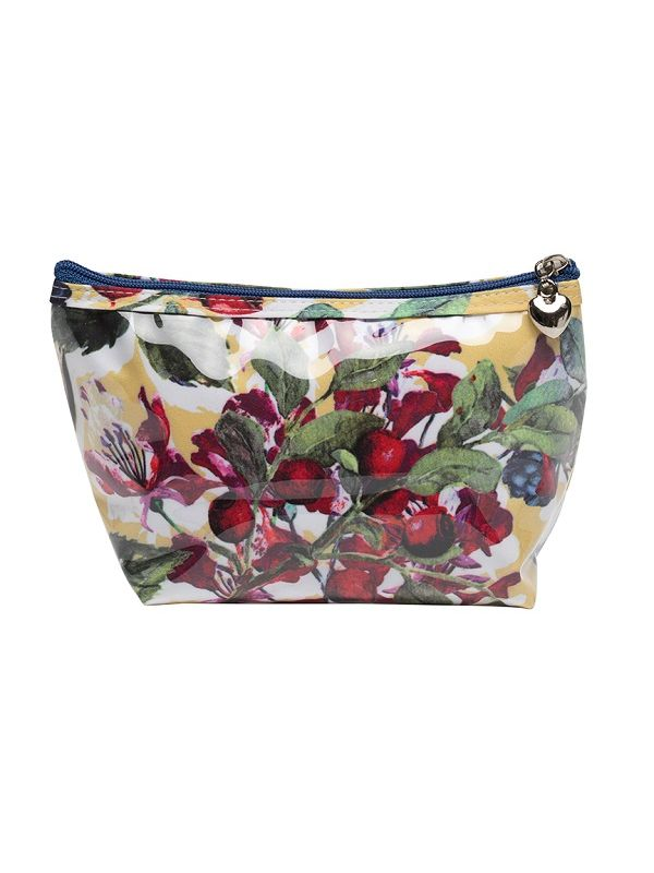 Cosmetic Bag (Small), Cotton/Waterproof PVC - Berry (Floral) - DN300-BFL