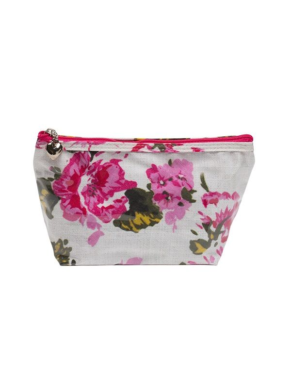 Cosmetic Bag (Small), Cotton/Waterproof PVC - Magenta Blossom - DN300-MB