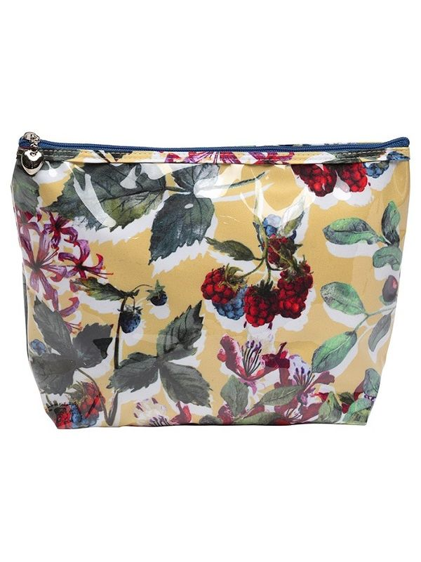 Cosmetic Bag (Medium), Cotton/Waterproof PVC - Berry (Floral) - DN301-BFL