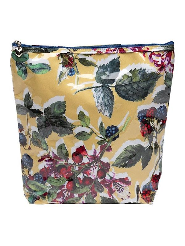 Cosmetic Bag (Large), Cotton/Waterroof PVC, Berry (Floral) - DN302-BFL