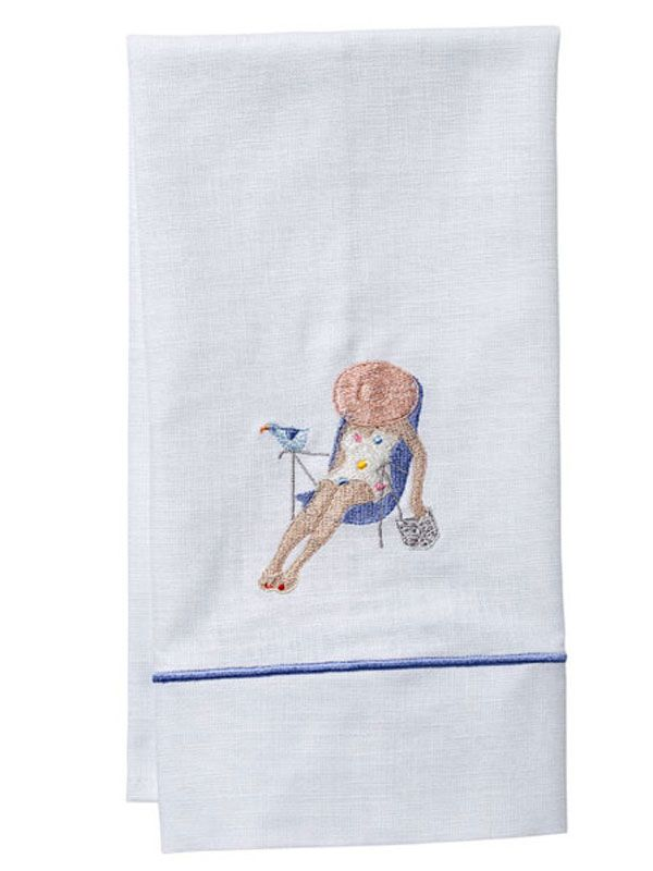 DG84-SL Guest Towel, White Linen, Satin Stitch - Siesta Lady