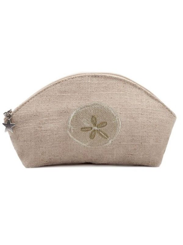 DG38-SDBE** Cosmetic Bag, Natural Linen (Small) - Sand Dollar (Beige)