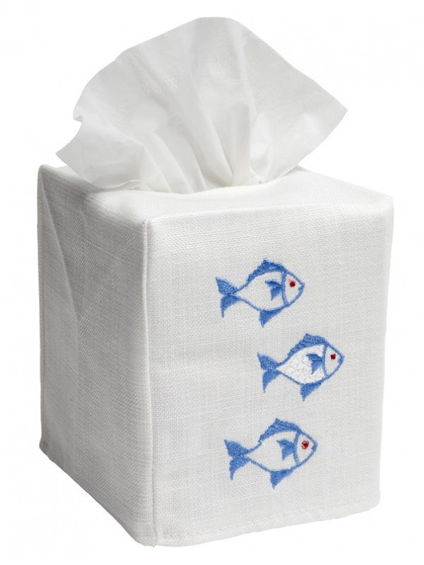DG17-SOFBL Tissue Box Cover, Linen Cotton - School of Fish (Blue)