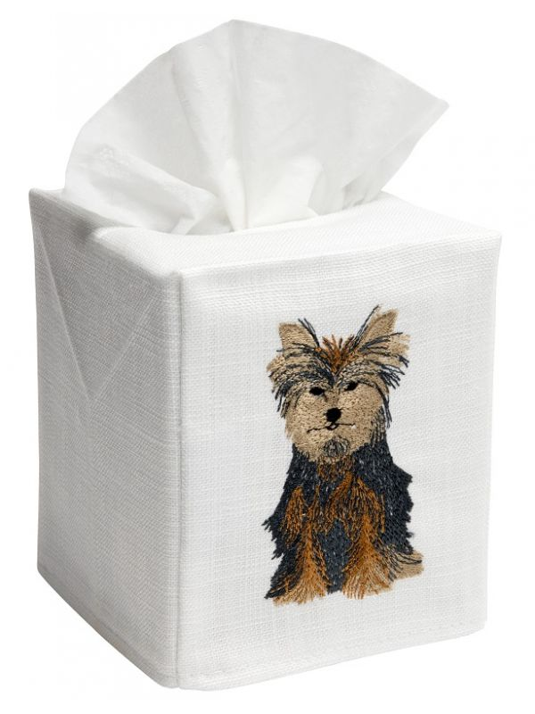 DG17-YD Tissue Box Cover, Linen Cotton - Yorkie Dog
