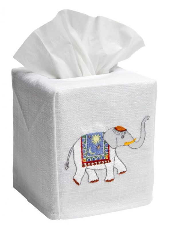 DG17-CELBL Tissue Box Cover - Charming Elephant (Blue)