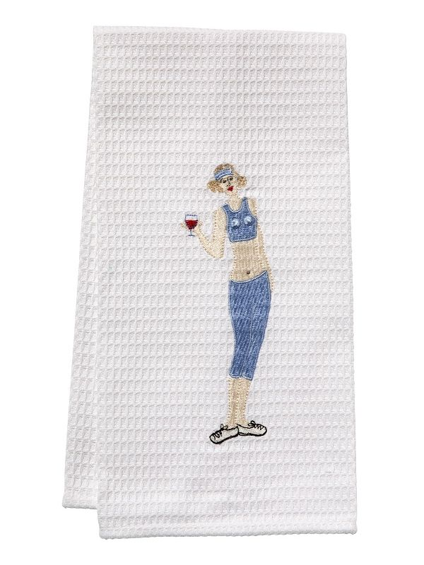 DG03-WWGBL Guest Towel - Waffle Weave - Wine Workout Girl (Blue)