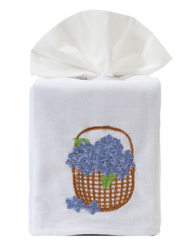 DG17-HBBL Tissue Box Cover - Hydrangea Basket (Blue)