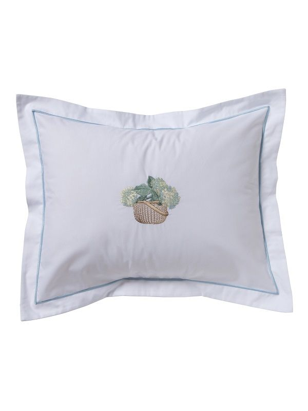 DG78-HBCRB** Boudoir Pillow Cover - Hydrangea Basket (Cream, Blue)