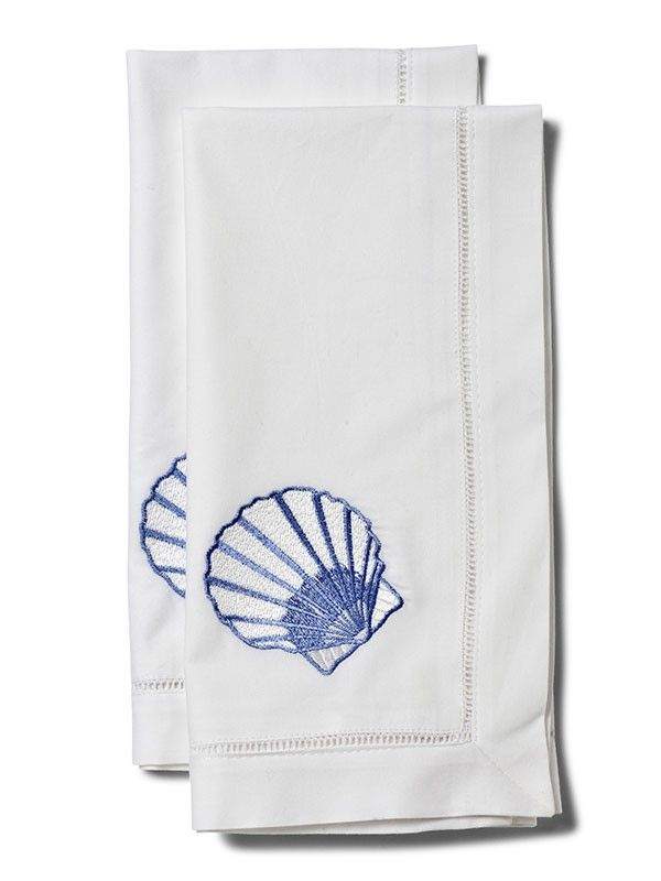 LG81-SCBL Dinner Napkin, Scallop (Blue)** Set of 2