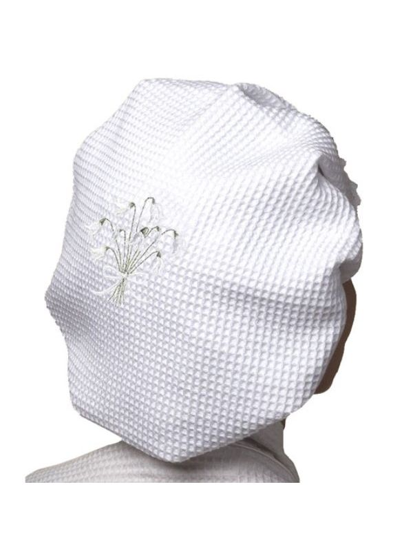 DG09-SDWH Shower Cap, Waffle Weave - Snow Drops (White)