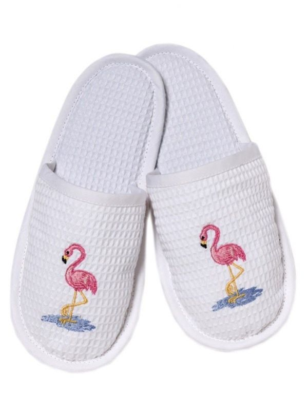 DG05-FOPK Slippers, Waffle Weave - Flamingos (Pink)