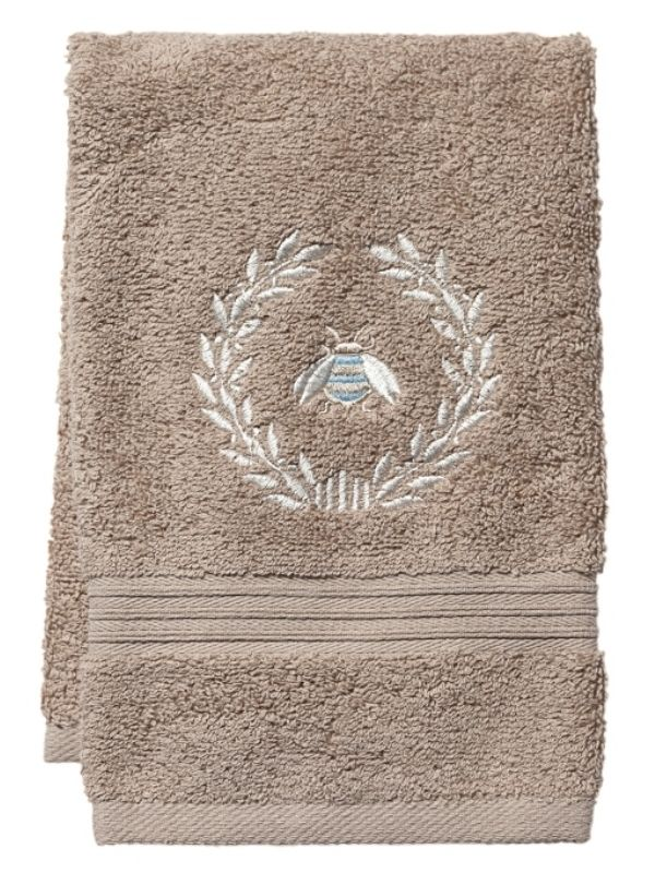 DG71-NBWDE Guest Towel, Taupe Terry - Napoleon Bee Wreath (Duck Egg Blue)