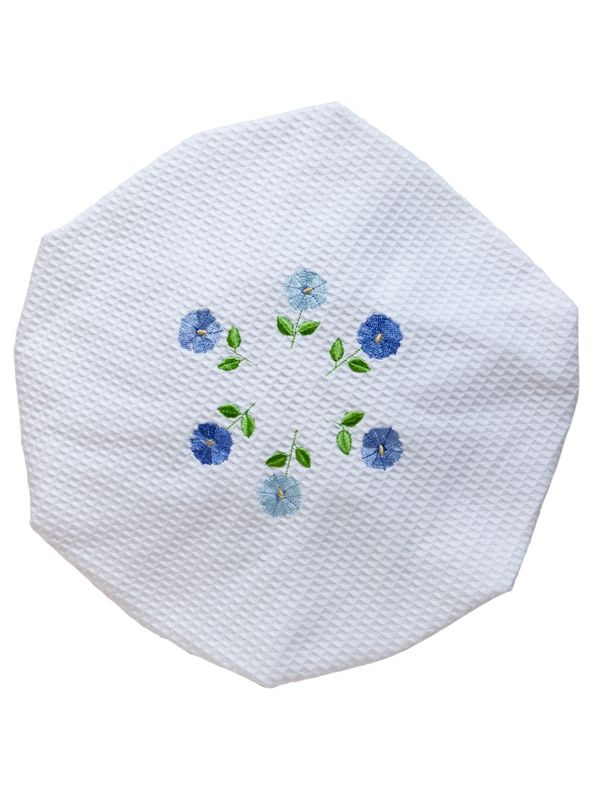 DG09-ROFBL Shower Cap, Waffle Weave - Row of Flowers (Blue)