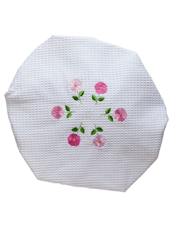 DG09-ROFPK Shower Cap, Waffle Weave - Row of Flowers (Pink)
