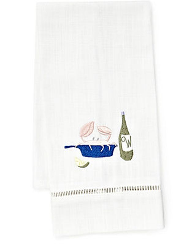 DG21-CRDNP Guest Towel, White Linen & Satin Stitch - Crab Dinner