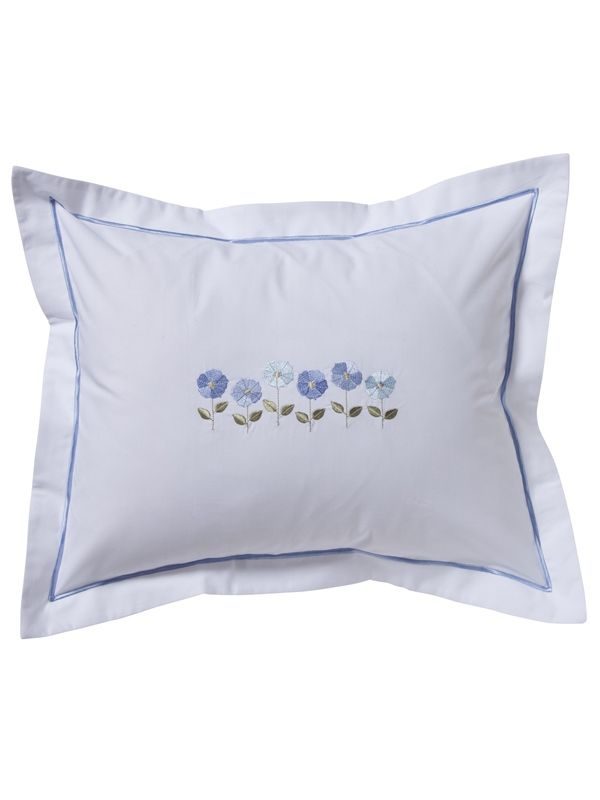 DG78-ROFBL Boudoir Pillow Cover - Row of Flowers (Blue)