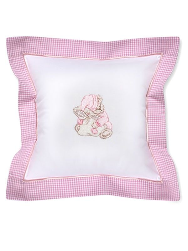 DG136-STPK Baby Pillow Cover - Sleeping Teddy (Pink)