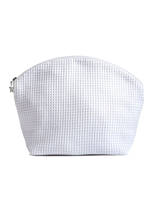 Cosmetic Bag (Large) - White Waffle Weave, Curved Top