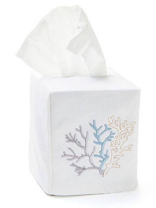 DG17-CLDE** Tissue Box Cover, (Cotton-Linen) - Coral (Duck Egg Blue)