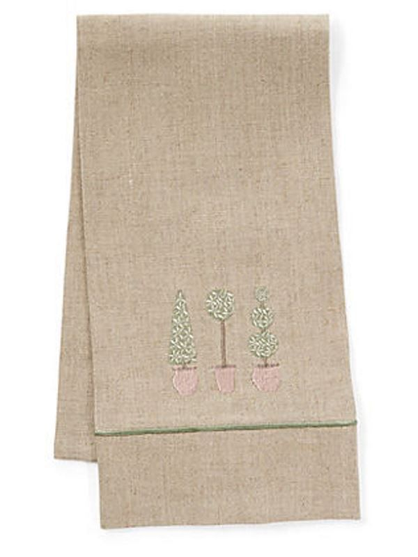 DG33-TTTO Guest Towel, Natural Linen & Satin Stitch - Three Topiary Trees (Olive)