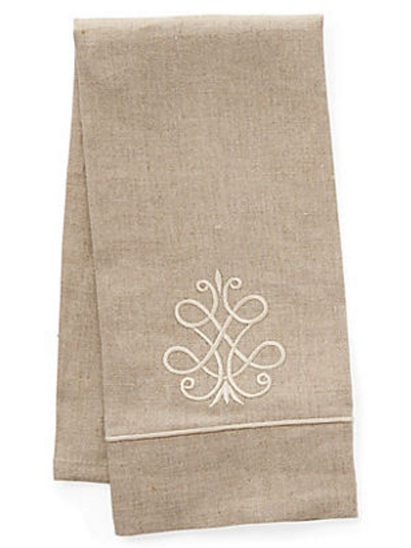 DG33-FSBE Guest Towel, Natural Linen & Satin Stitch - French Scroll (Beige)