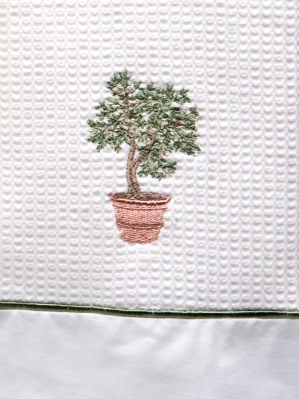 DG08-OTGR Guest Towel Waffle and Satin Stitch - Olive Tree (Green)