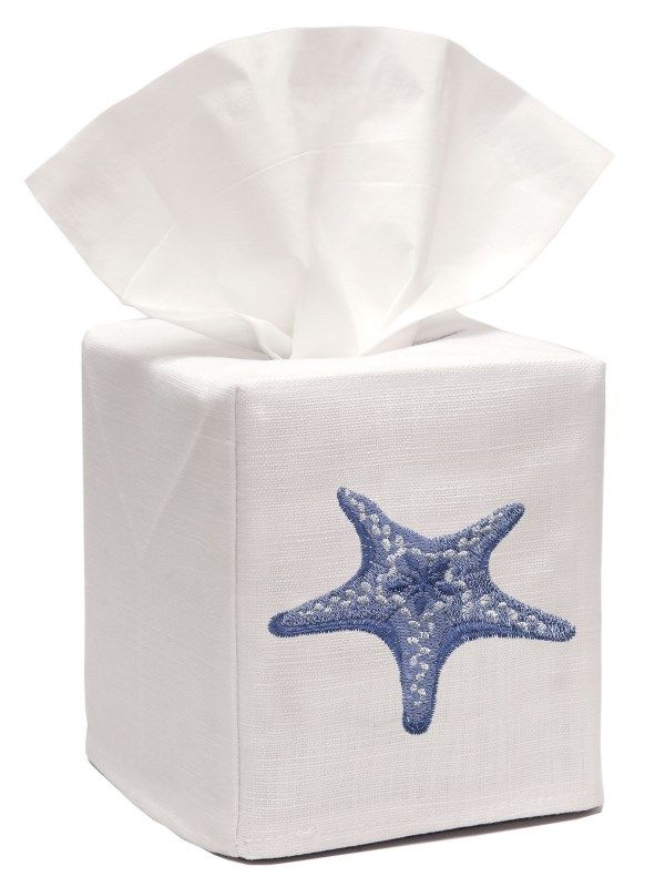DG17-MSFBL** Tissue Box Cover, Linen Cotton - Morning Starfish (Blue)