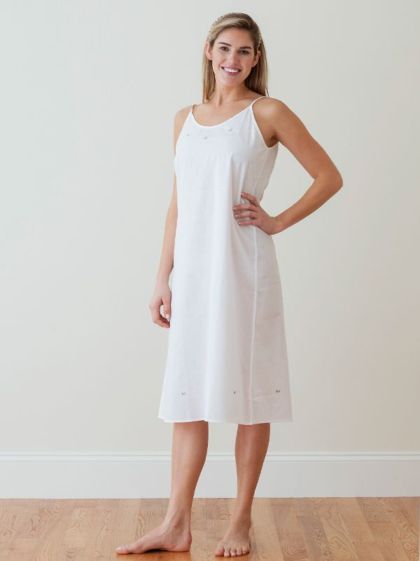 Karen White Cotton Nightgown, Embroidered** - EL206
