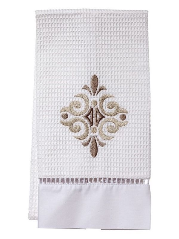 DG02-AMST Guest Towel, Waffle Weave - Amalfi Scroll (Taupe)
