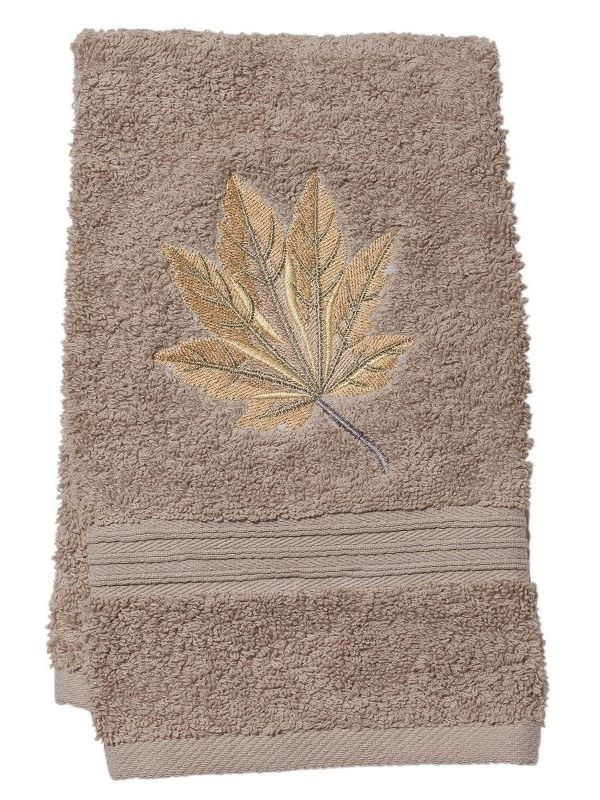DG71-MLHG Guest Towel, Taupe Terry - Maple Leaf (Honey Gold)